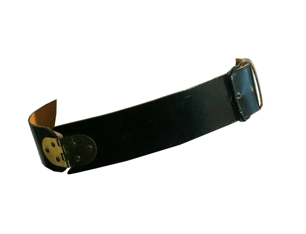 Black Leather Belt w/ Gold Tone Metal Hinges circa 1960s Dorothea's Closet Vintage Belt