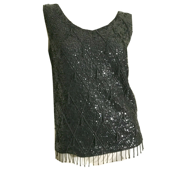 Shimmering Black Sequined and Beaded Wool Knit Camisole Top circa 1960s
