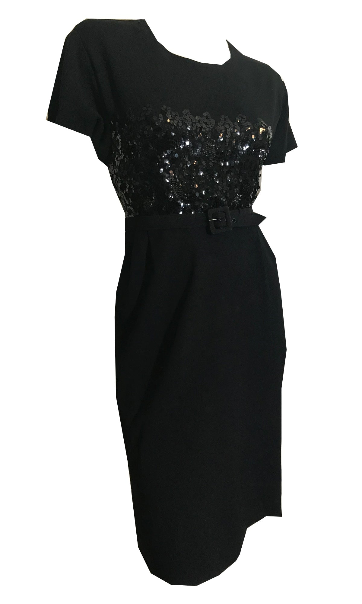 Black Crepe Rayon Cocktail Dress with Sequined Bodice Petite circa 1940s