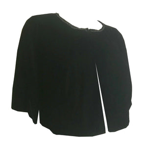 Black Velvet Cropped Jacket with Sequined Neckline circa 1960s