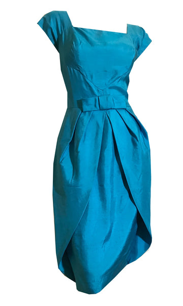 Azure Blue Silk Cocktail Dress with Hip Panels and Bow circa 1960s