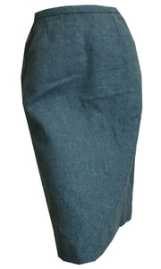 Herringbone Weave Aqua Blue Wool Pencil Skirt circa 1960s