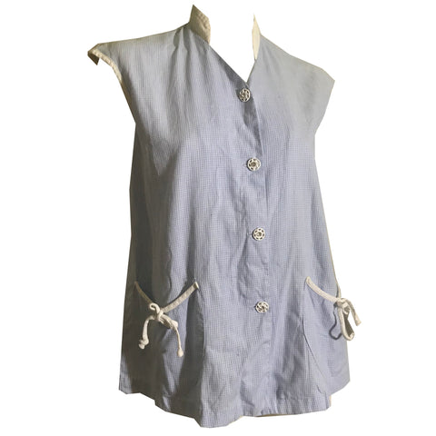 Baby Blue Cotton White Grid Weave Sleeveless Maternity Blouse circa 1930s