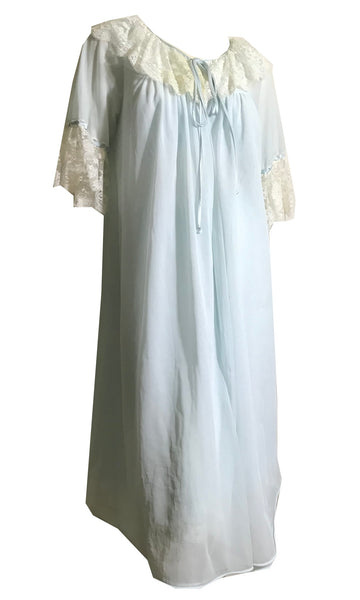 Powder Blue Nylon Nightgown and Robe with Lace and Chiffon circa 1960s