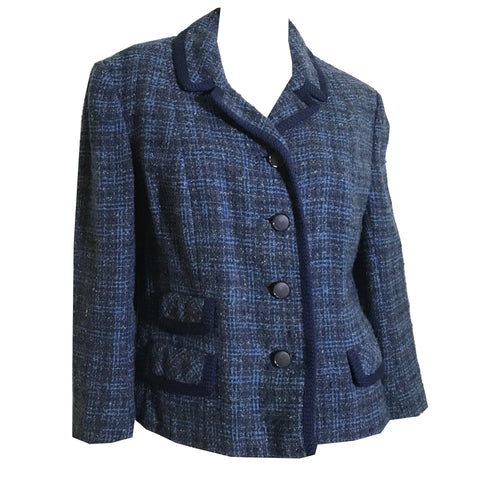 Stylish Blue and Black Plaid Wool Cropped Boxy Cut Jacket circa 1960s