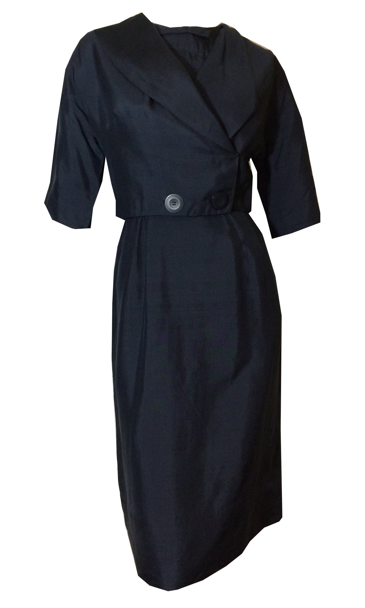 Curve Conscious Blue Bow Trimmed Dress with Cropped Jacket circa 1950s