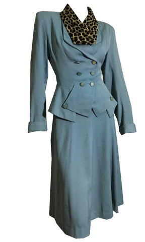 Sky Blue Nipped Waist 2 Pc Suit Dress with Peplum circa 1940s