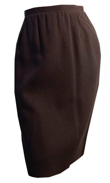 Deep Brown Wool Mini Pencil Skirt circa 1960s