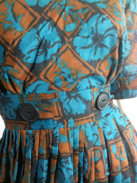 Turquoise and Cocoa Floral Print Dress w/ Button detail circa 1960s