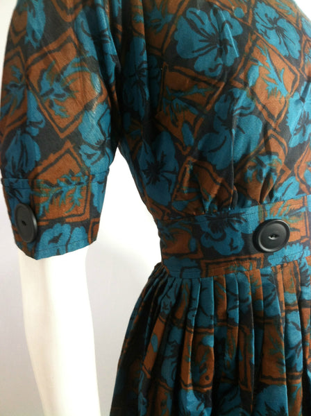Turquoise and Cocoa Floral Print 1960s Dress w/ Button detail