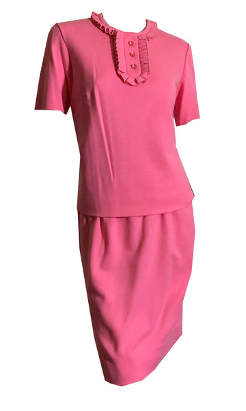 Cotton Candy Pink Poly Knit 2 Pc Dress Set circa 1960s