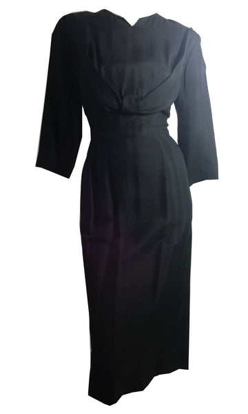 Little Black Silk Dress with Bust Detail circa 1960s