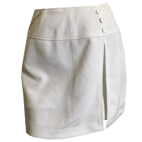 White Poly Knit Side Slit Skort Shorts Mini Skirt circa 1970s