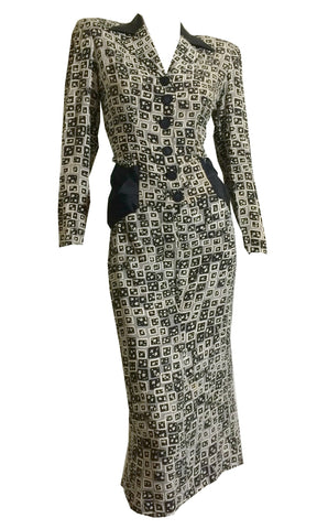 Black and Grey Art Print 2 Pc Rayon Dress with Peplum Back circa 1940s