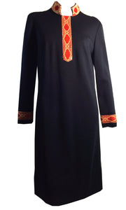 Lacquer Red and Gold Mandarin Collar Black Wool Dress circa 1960s Mr. Blackwell