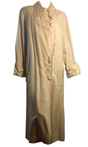 Ivory Linen Button Trimmed Car Coat circa Early 1900s