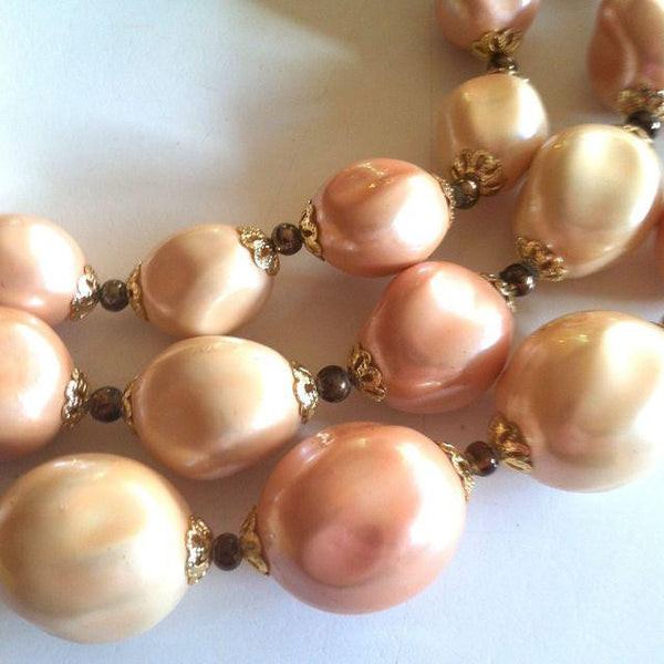 Sandy Hued Pastel Triple Strand Beaded Necklace circa 1960s