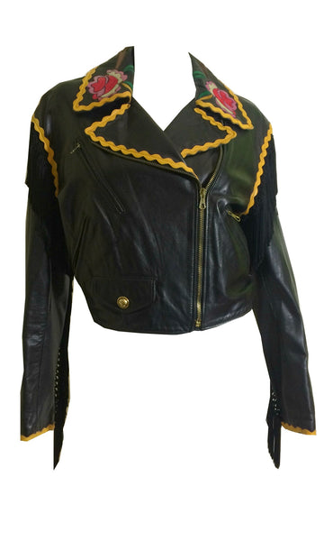 Roses and Ric Rac Black Leather Fringe Trimmed Cropped Bike Jacket circa 1990s Moschino