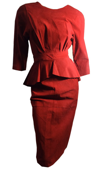 Cherry Red Suede Open Back Dress with Peplum circa 1980s