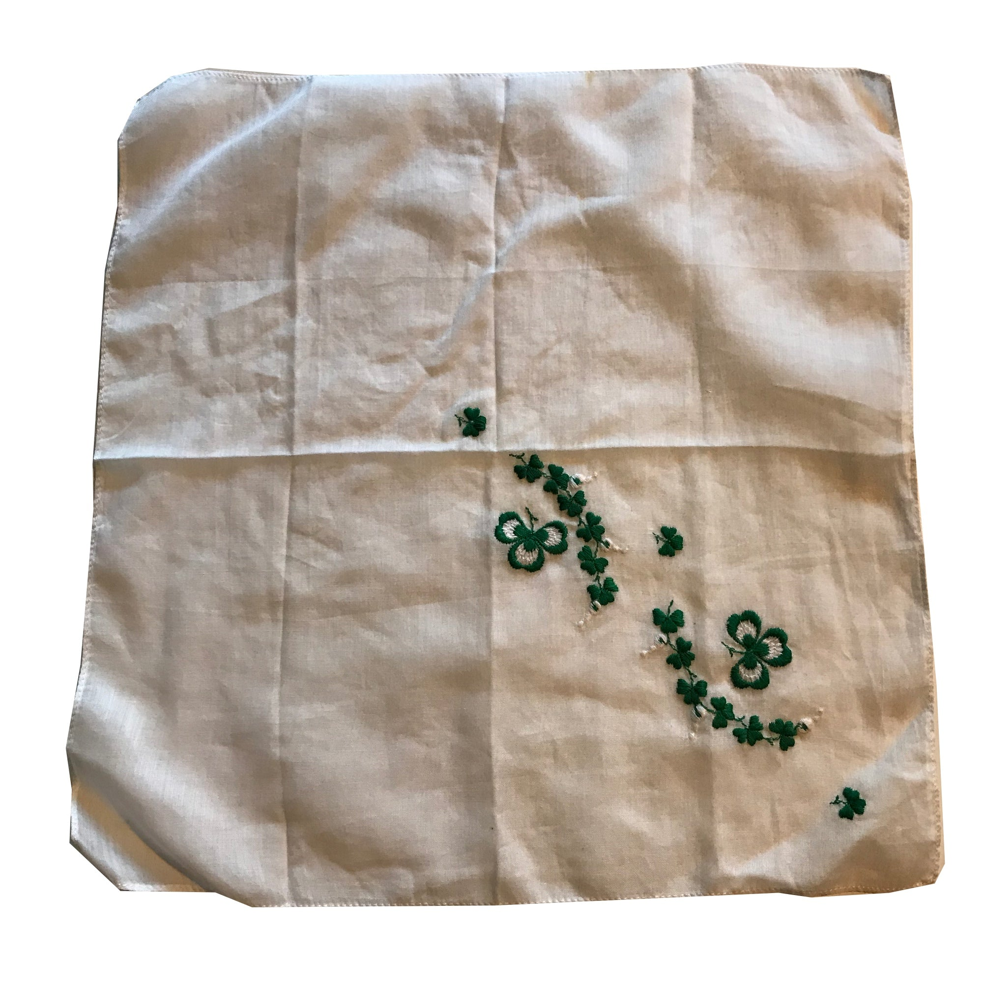Embroidered Lucky Clover Green and White Handkerchief circa 1950s