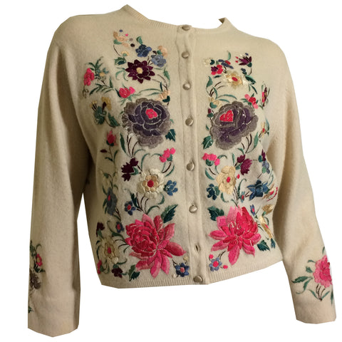 Helen Bond Carruthers Ivory Cashmere Sweater with Peacock and Florals Embroidered Appliques circa 1950s