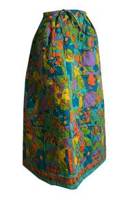 Bright Floral Print Quilted Midi Skirt circa 1970s