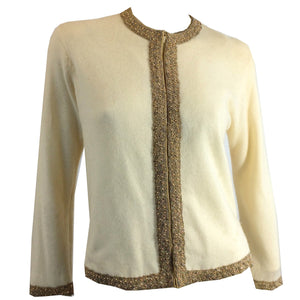 Classic Copped Bead Trimmed Ivory Cashmere Cardigan circa 1960s