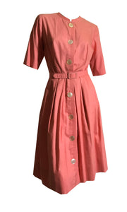 Cheery Coral Cotton Shirt Waist Dress w/ Big Buttons circa 1960s
