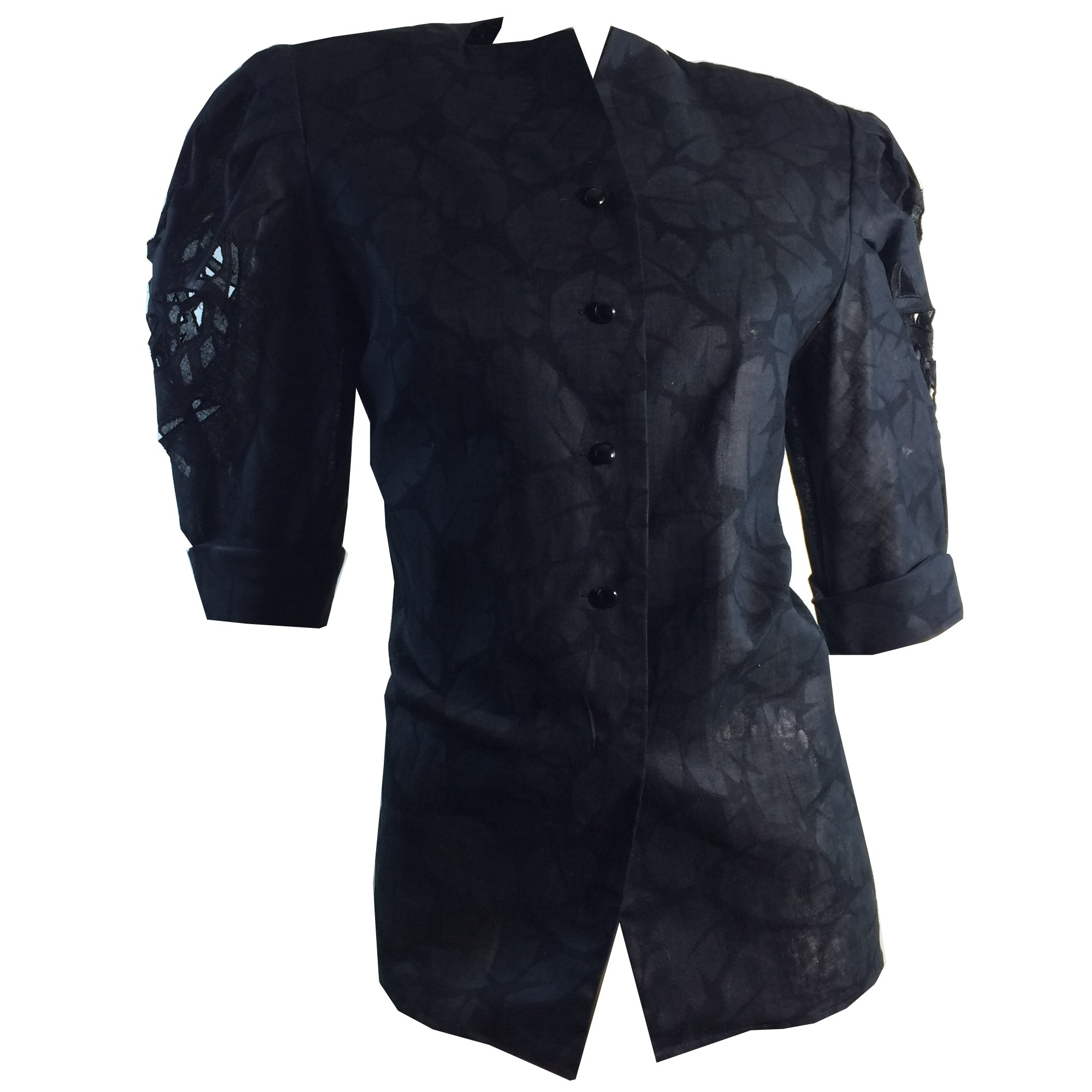 Victorian Inspired Black Linen Jacket with Cutwork Detail Full Sleeves circa 1980s
