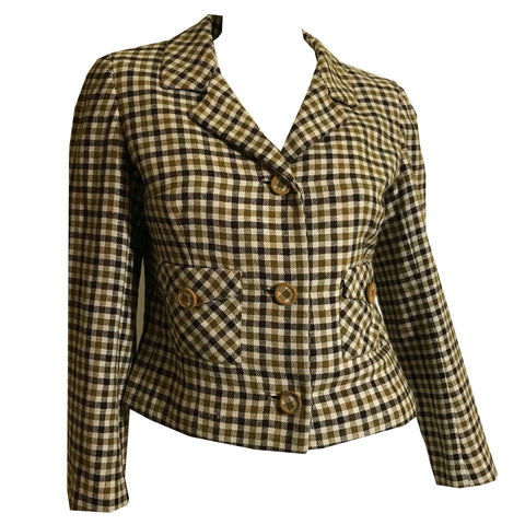 Khaki and Black Paid Wool Cropped Jacket circa 1960s