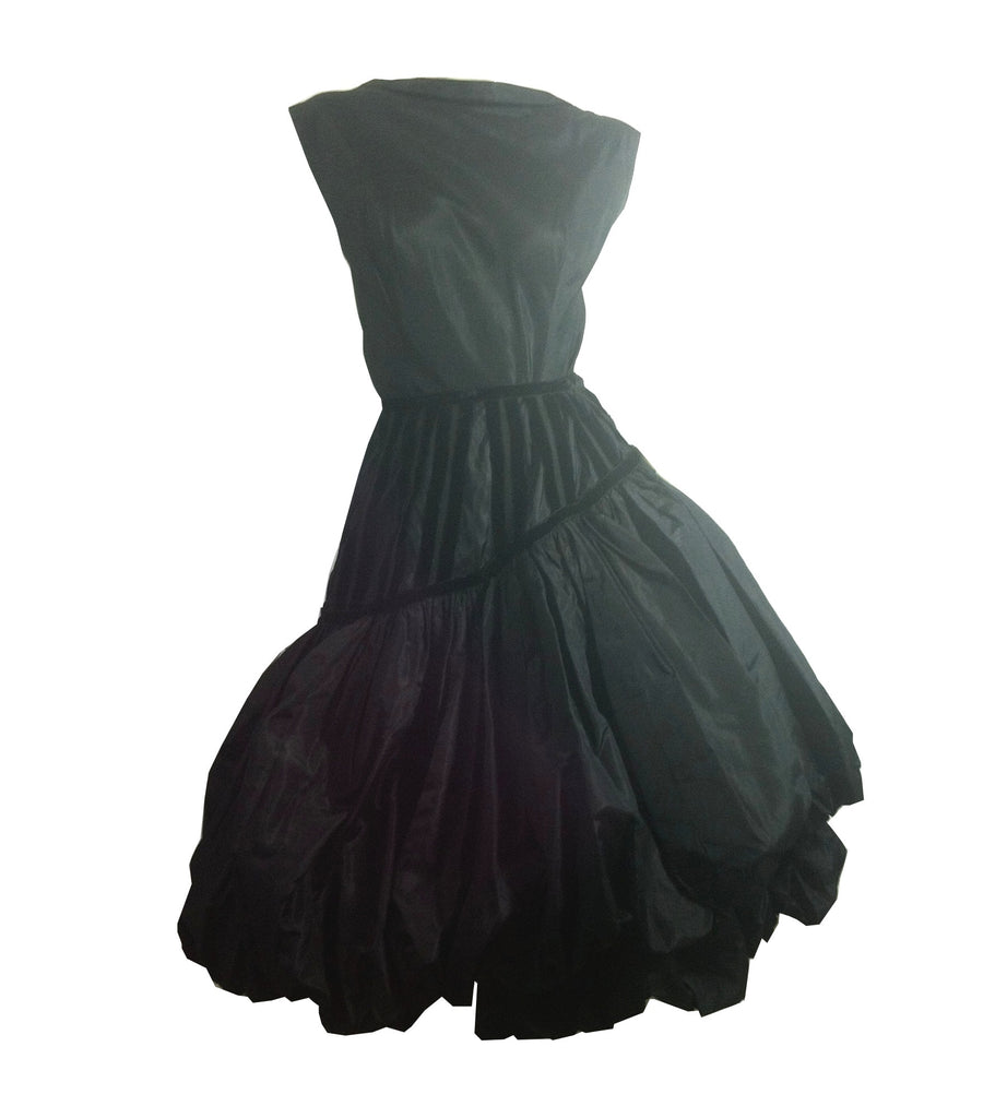 x ARCHIVED French Silk Black Can-Can Wrap Skirt & Top w/ Velvet Trim circa 1950s by Dogé