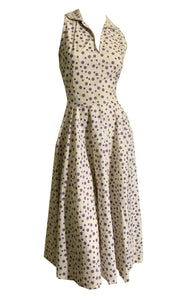 Purple Polka Dot Sleeveless Full Skirt Dress circa 1940s