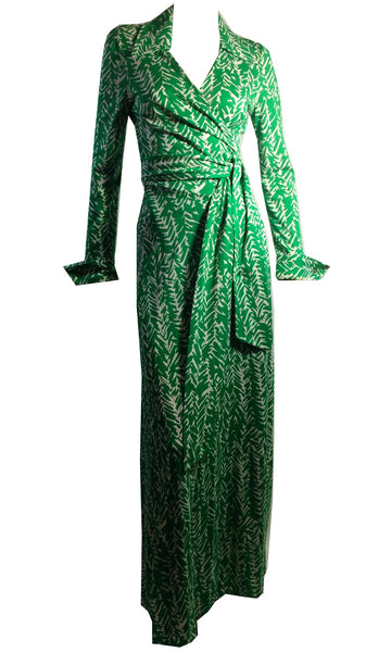 Iconic Green and White Abstract Print Jersey Maxi Wrap Dress circa 1970s DVF