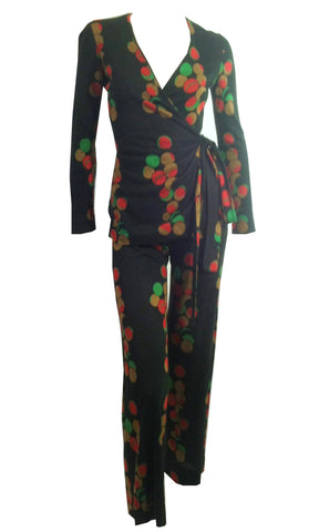 Iconic DVF Jersey Wrap Top and Pant Set Deco Design circa 1970s Diane Von Furstenberg