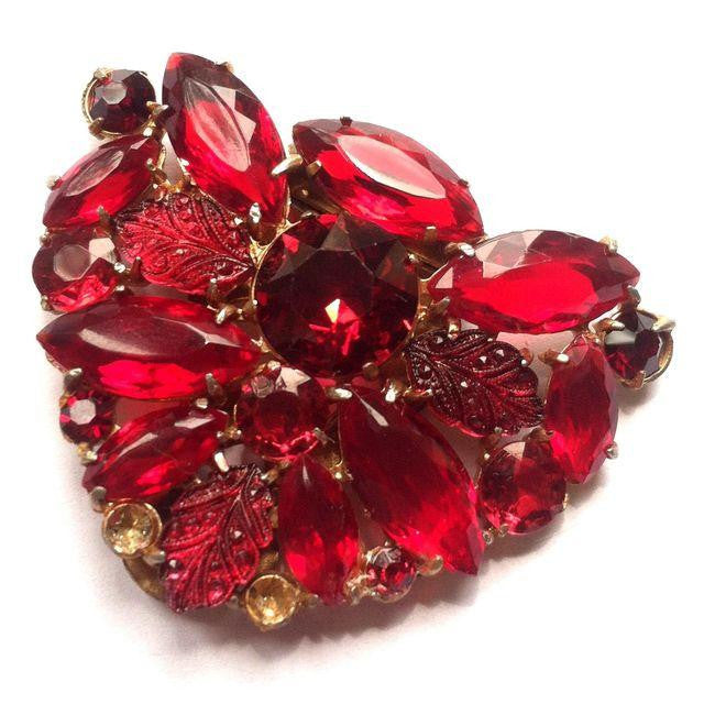Glamorous Ruby Red Czech Glass and Crystal Fur Clip circa 1930s Dorothea's Closet Vintage Jewelry