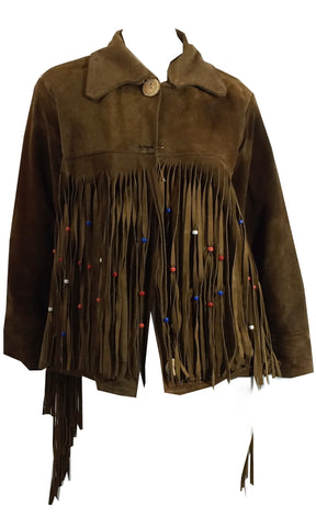 Easy Rider Chic Beaded Fringed Brown Suede Jacket circa 1970s Dorothea's Closet Vintage Clothing