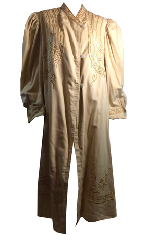 Elegant Ivory Wool Coat w/ Arts and Crafts Soutache Trim circa Early 1900s L