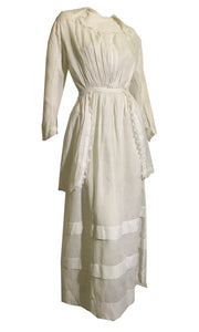 Semi-Sheer White Lawn Cotton Dress with Off-Center Button Bodice and Hip Panels circa 1910s