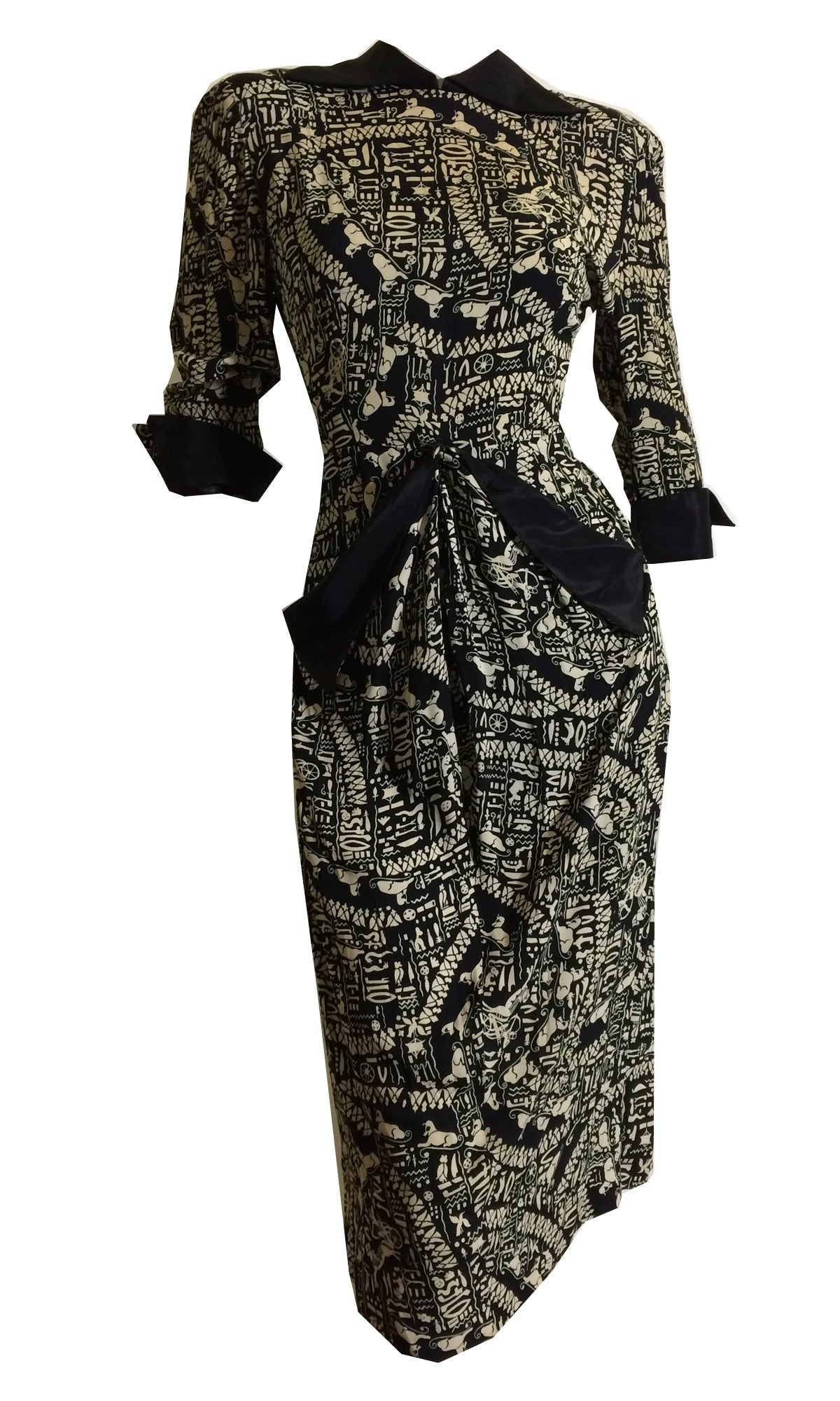 Egyptian Novelty Print Black and Ivory Crepe Rayon Dress circa 1940s