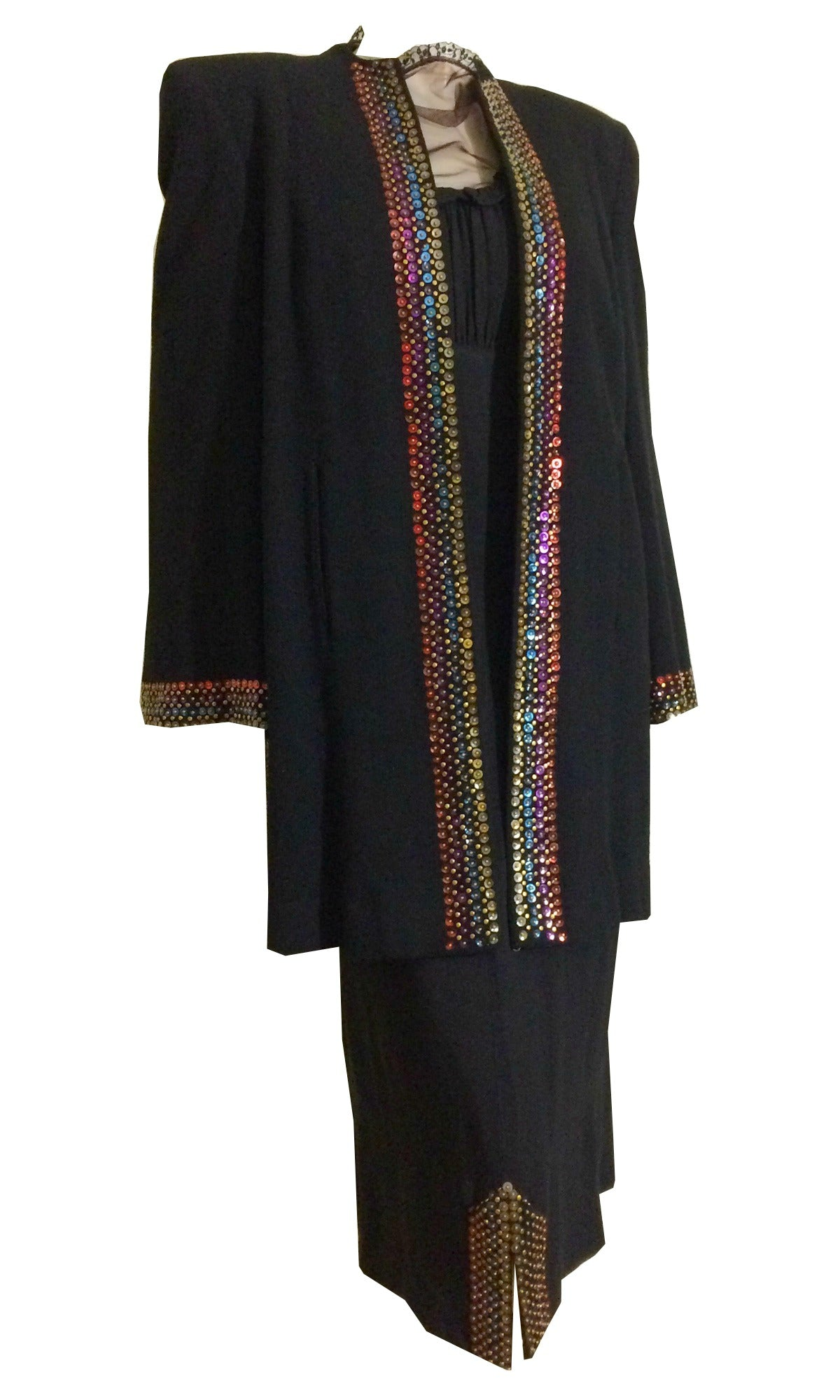 Sequin and Stud Edged Coat and Dress Set circa 1940s
