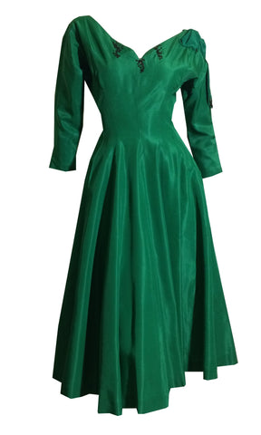 Emerald Green Silk Taffeta Party Dress with Shoulder Bow and Button Back circa 1950s