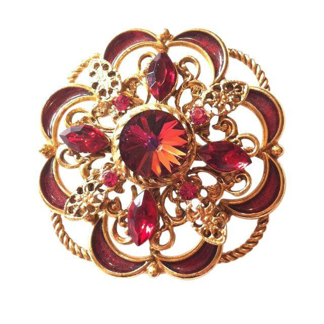 Scarlet Red Rivoli Crystal Enameled Statement Brooch circa 1960s Dorothea's Closet Vintage Brooch