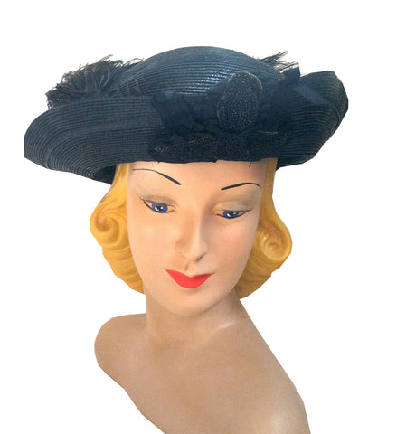 Black Curved Brim Hat w/ Jet Beading and Ostrich Plume circa Early 1900s