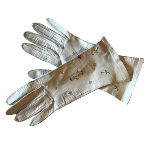 Pastel Floral Embroidered White Leather Gloves circa 1950s