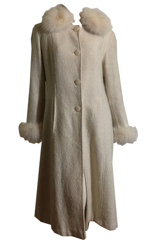 Fox Fur Trimmed Icy Sparkle Flecked Ivory Wool Coat circa 1980s