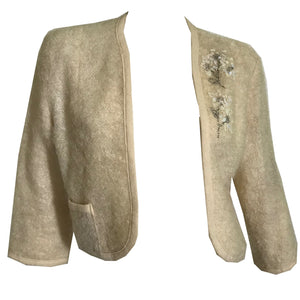 Shaggy Ivory Wool Cropped Jacket with Iridescent Sequins circa 1960s