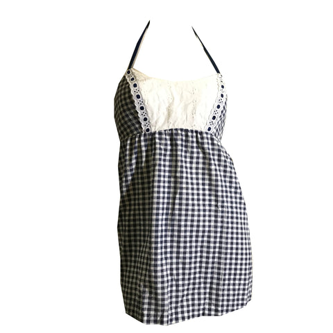 Gingham Blue and White Cotton Summer Swim Top circa 1960s