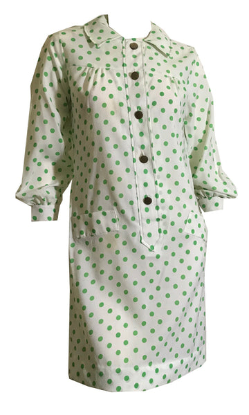 Kelly Green and White Polka Dot Mini Dress circa 1970s