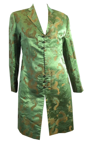 Asian Glamour Green Silk Damask Cocktail Jacket circa 1960s Dorothea's Closet Vintage Clothing