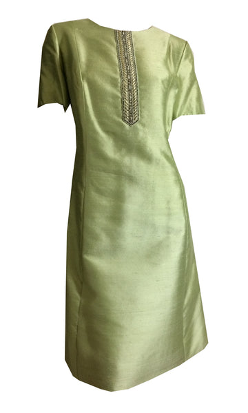 Pistachio Green Slubbed Silk Dress and Jacket with Beading circa 1960s